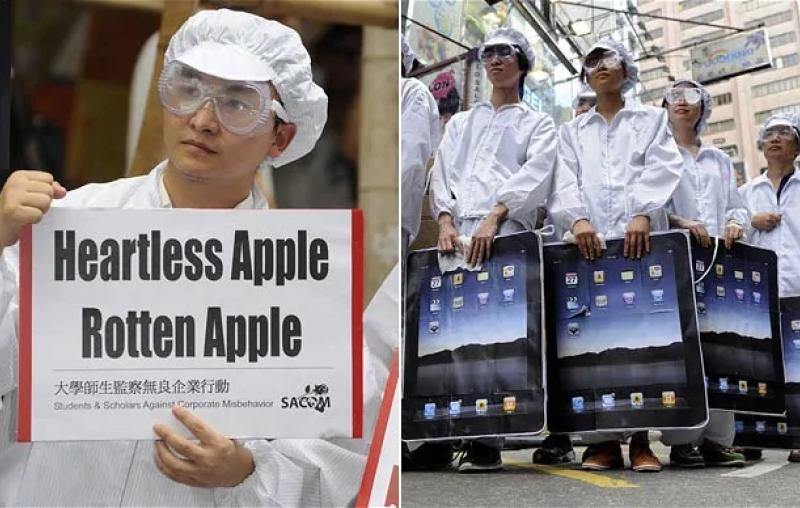 Demonstrators outside an Apple store in Hong Kong protest about the poor working conditions of employees of Taiwan's Foxconn which manufactures Apple products in China.